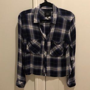 Rails navy white checked flannel top size small